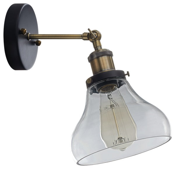 Alpa Clear Glass And Antique Brass Vintage Wall Light - Lighting.co.za