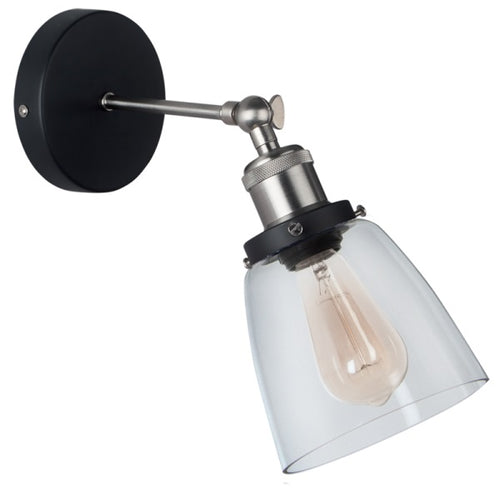 Bodo Black And Chrome Vintage Glass Wall Light - Lighting.co.za