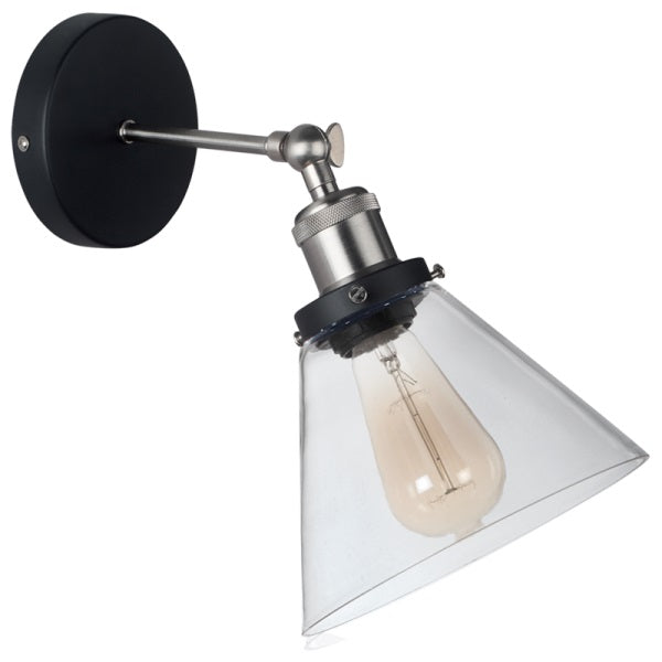 Newton Black And Chrome Vintage Clear Glass Wall Light - Lighting.co.za