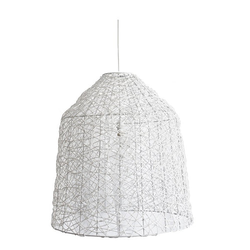 White Bell Woven Resin String Pendant Light Available In 3 Sizes - Lighting.co.za