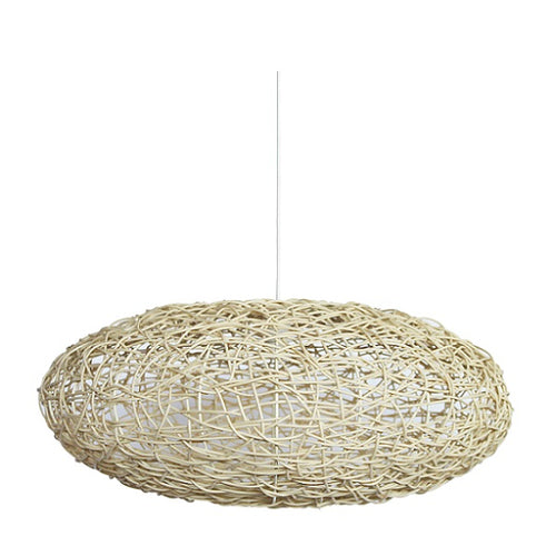 Gaia Woven Synthetic Cane Eclipse Pendant Light 2 Sizes - Lighting.co.za