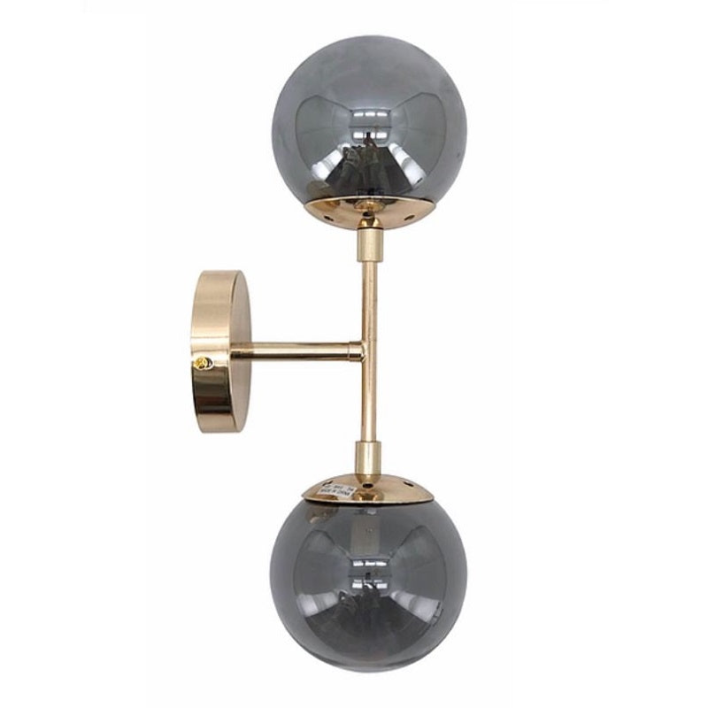 Zimali Art Deco 2 Light Gold And Smoke Glass Wall Light - Lighting.co.za