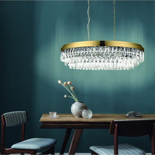 Valparaiso Gold and Clear Crystal Oval Chandelier - Lighting.co.za