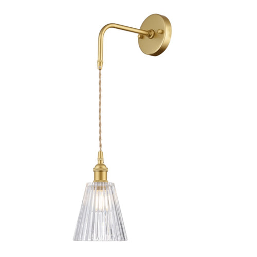 Arla Satin Gold Vintage Funnel Cut Glass Wall Light - Lighting.co.za