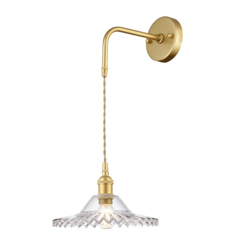 Arla Satin Gold Vintage Hat Cut Glass Wall Light - Lighting.co.za