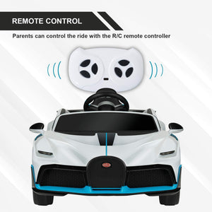 12V Kids Ride-On Licensed Bugatti Divo with Remote Control, Colorful Lights, Music Player
