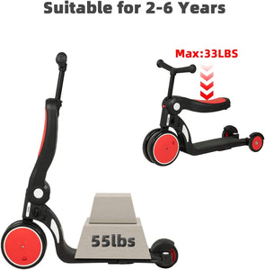 Uenjoy 6-in-1 Kick Scooter Kids Balance Bike Tricycle with Detachable Push Handle, Adjustable Height, Convertible Wheels