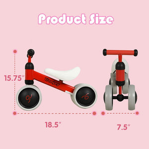 Uenjoy Baby Balance Bike 1 Year Old Boys Girls Bicycle Riding Toys and Walker, No Pedal Infant 4 Wheels for 10-24 Months Toddler