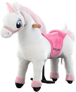 Uenjoy Kids Ride on Unicorn Riding Horse Toy, Pony Rider Mechanical Cycle Walking Action Plush Animal for Children 4 to 9 Years