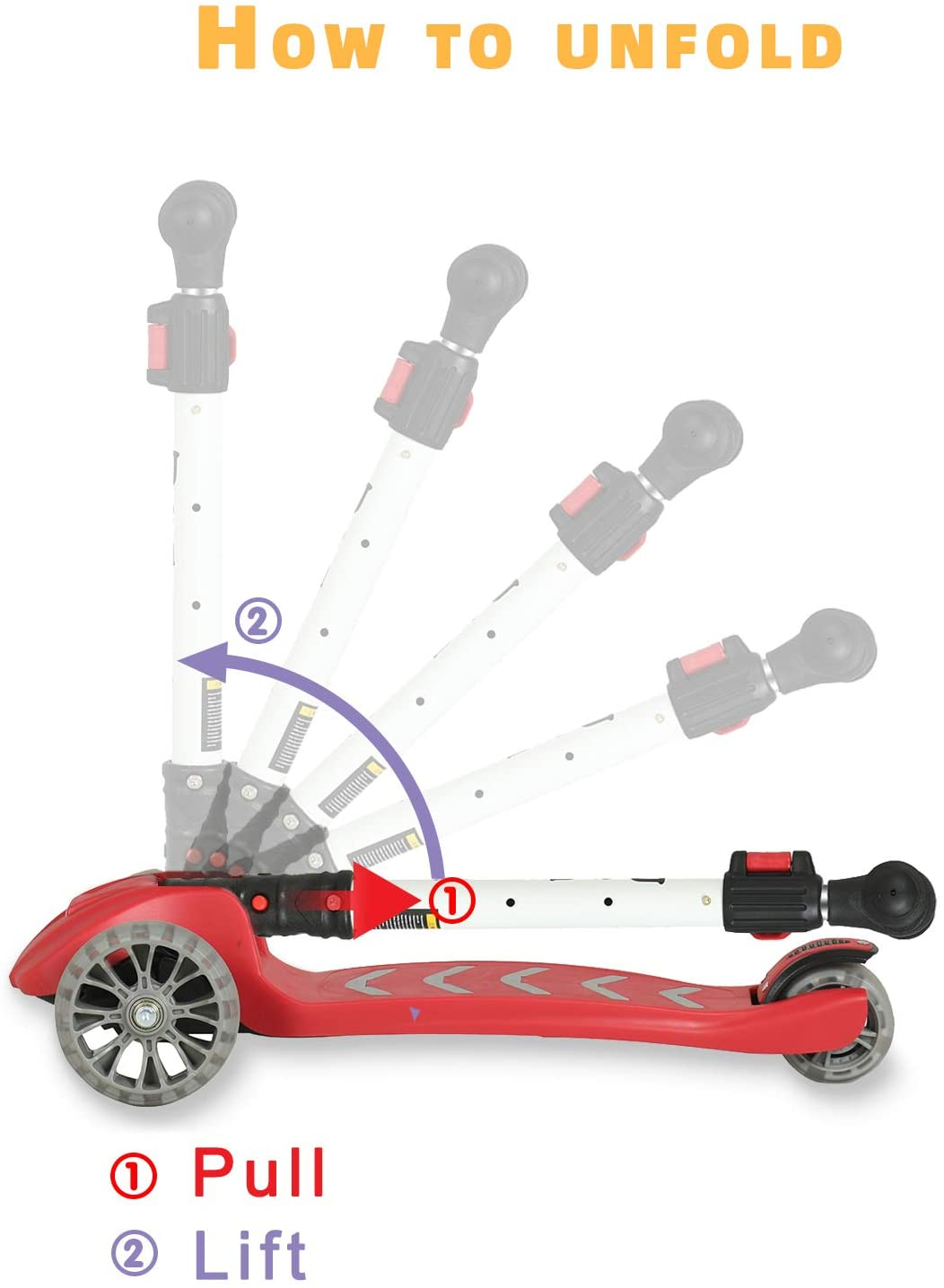 Uenjoy Kick Scooter Kids 3 Wheel Scooter for Boys Girls, Adjustable Height, PU Light Up LED Wheels
