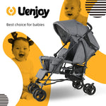 Load image into Gallery viewer, Uenjoy Baby Double Seat Jogging Stroller Fold Stroller for Babies & Toddlers with Spring Damping& Lockable Universal Wheels
