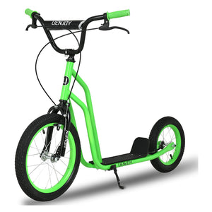 Uenjoy Kick Scooter Youth Kids 2 Wheel Scooter,  Inflatable Wheels, Steel Frame, Wide Standing Board, Weight Capacity 220 LBS