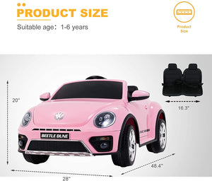 12V Kids Licensed Ride-On Volkswagen Beetle with Remote Control, Colorful Lights, Music Player(In Stock:Mar.7)
