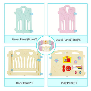 Uenjoy Baby Playpen 12 Panel Adjustable Kids Safety Activity Center Play Yard Home Indoor Outdoor Pen with Double Security Lock Gate