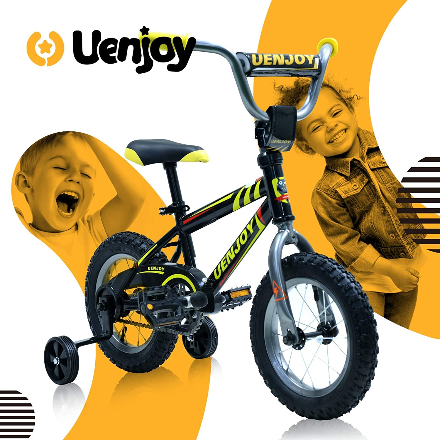 Uenjoy 12 inch  Kids Bike, with Detachable Training Wheels, Boys Girls Bicycle, Easy to assemble