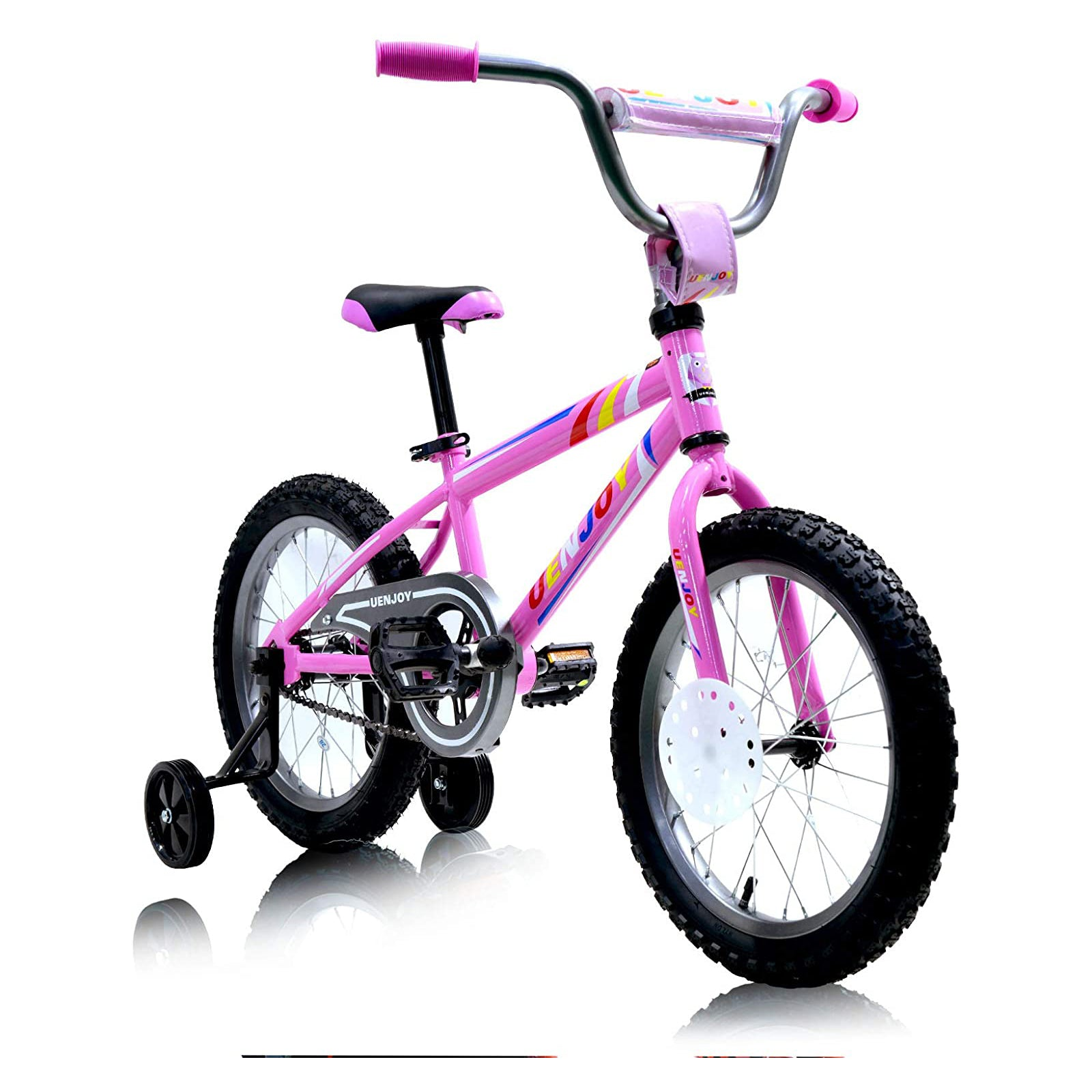 Uenjoy 18 inch  Kids Bike, with Kickstand Child's Bike, Boys Girls Bicycle, Easy to assemble