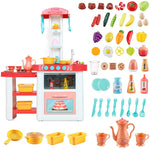 Load image into Gallery viewer, Uenjoy Kids Mini Kitchen Playset Plastic Pretend Play Kitchen with Realistic Lights & Sounds