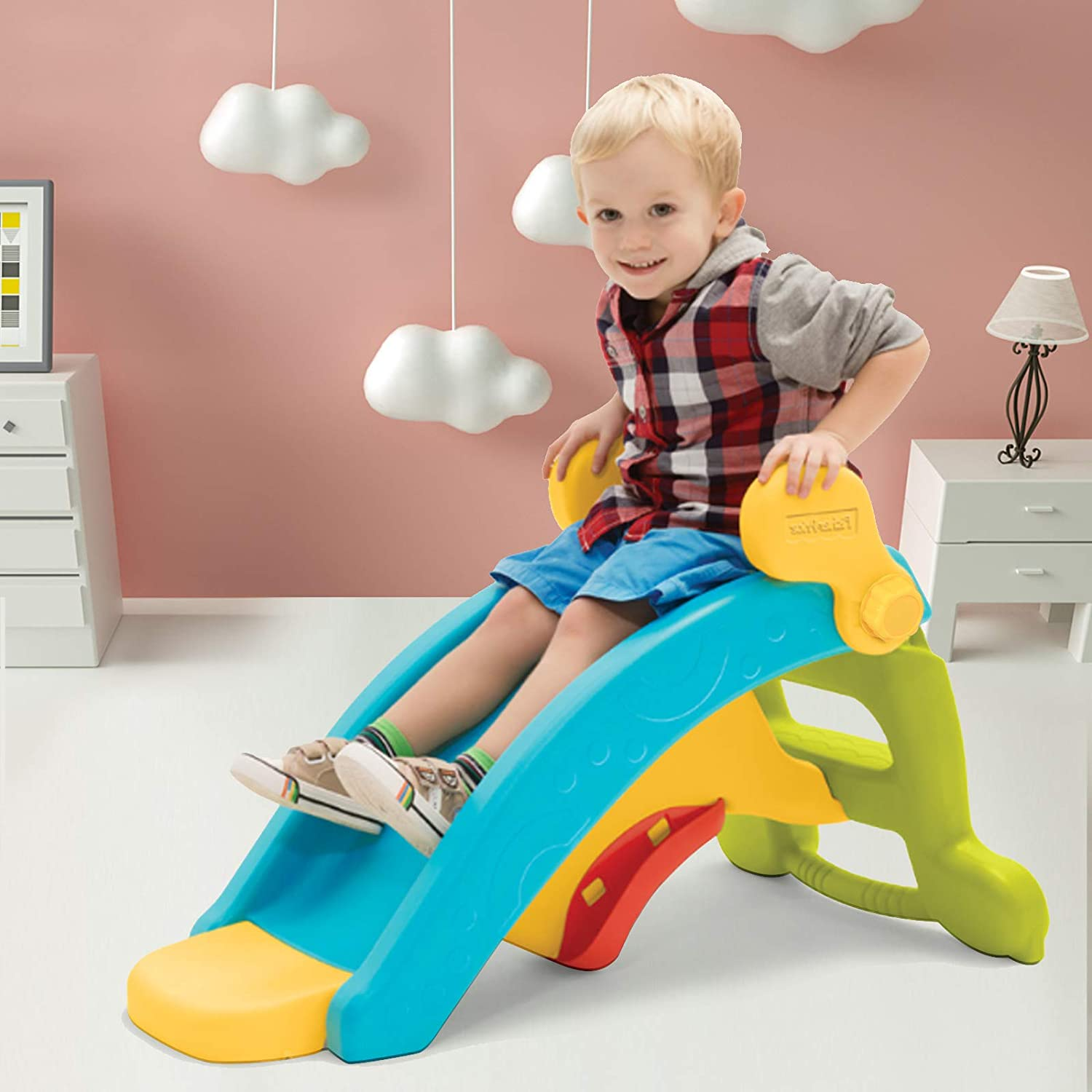 Uenjoy 2 in 1 Toddler Slide & Rocking Toy, Lightweight Sturdy Portable Play Slide Climber for Children
