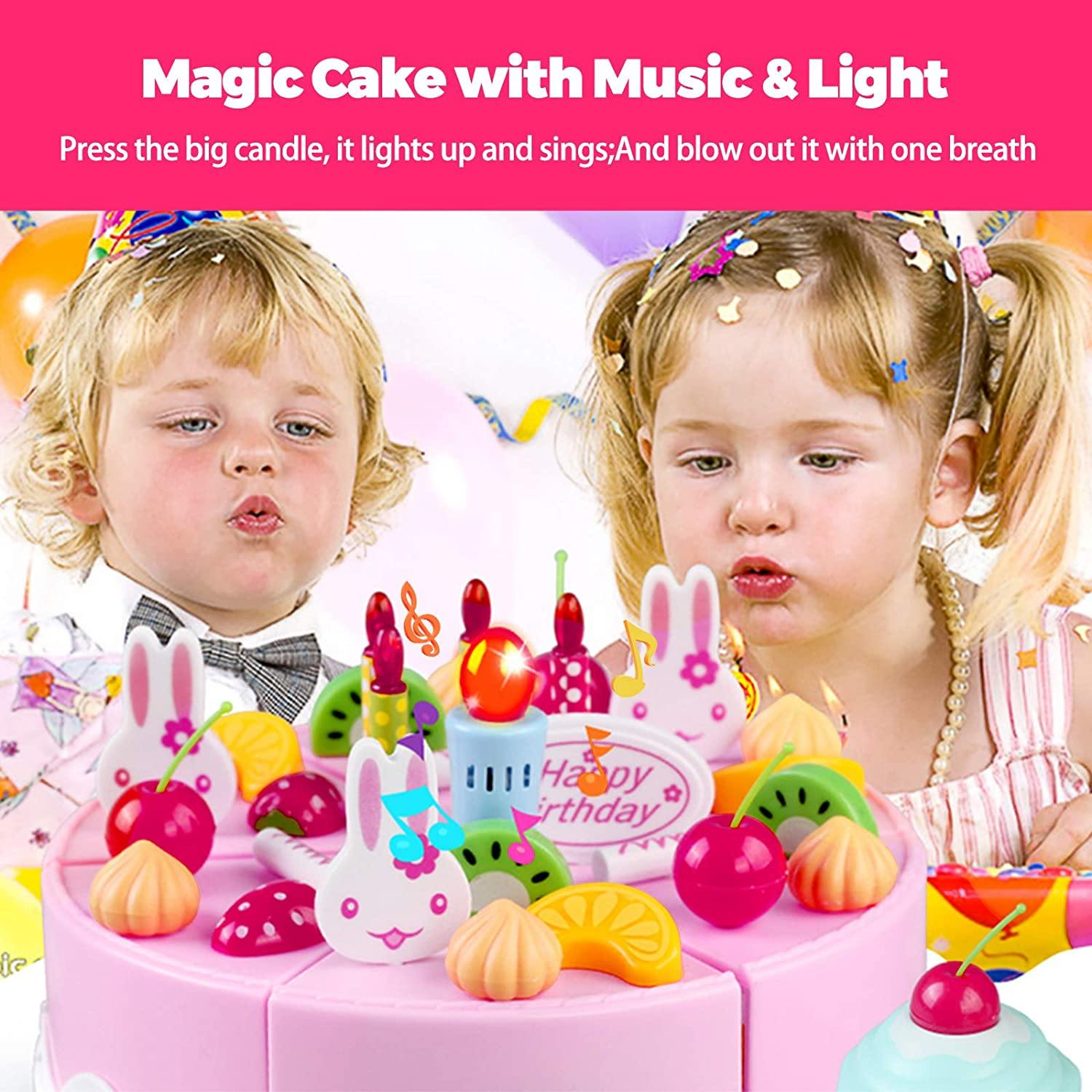 Uenjoy Play Birthday Cake Pretend Play Food Sets for Kids