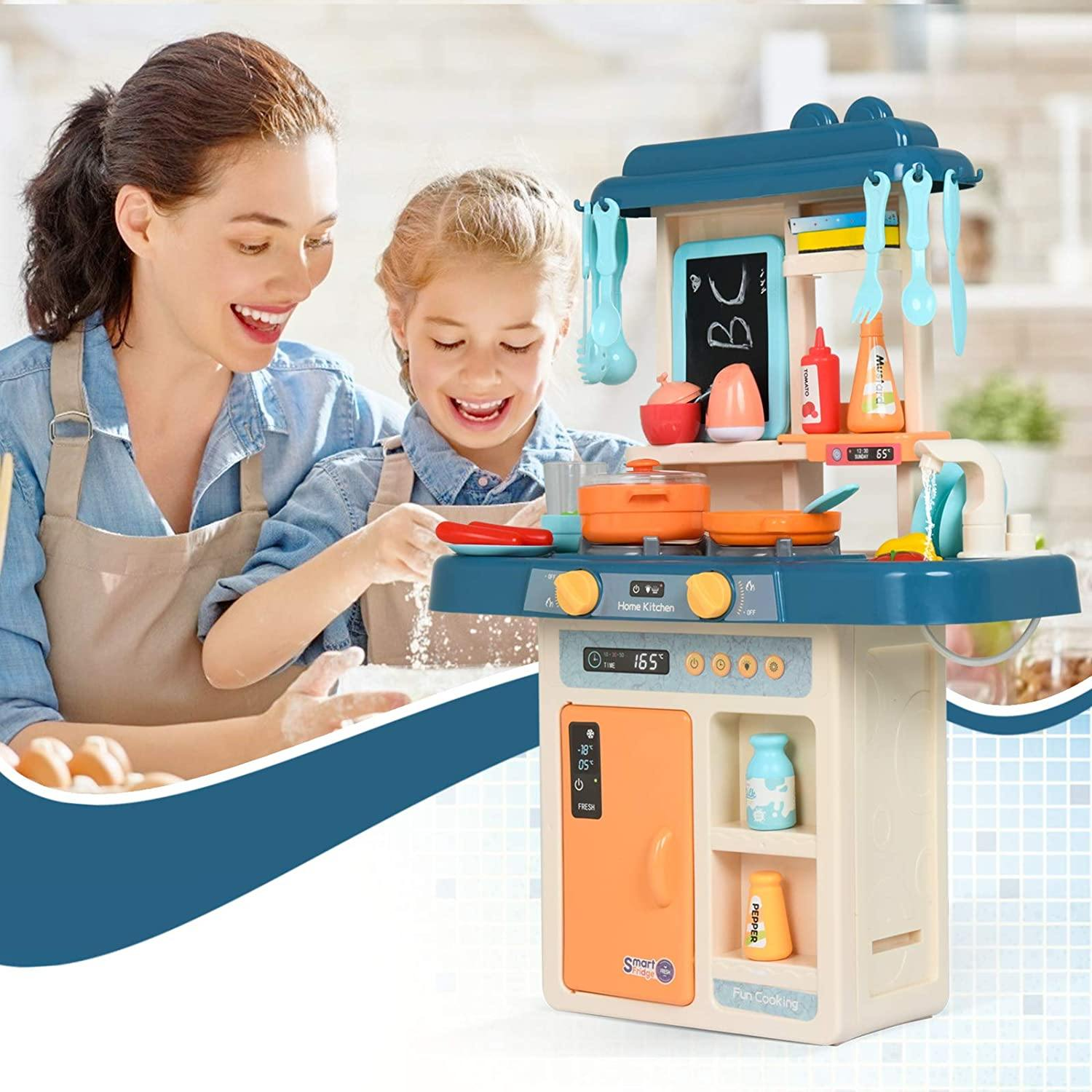 Uenjoy Kids Mini Kitchen Playset Plastic Pretend Play Kitchen with Realistic Lights & Sounds, Kitchen Sink with Real Water