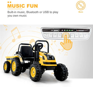 6V Kids Ride-On Tractor with Remote Control, Colorful Lights, Music Player