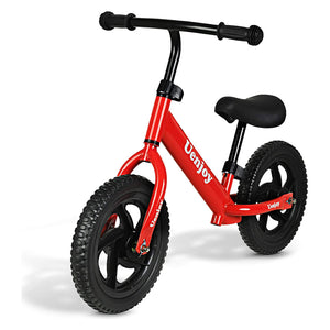 "Uenjoy Kids Balance Bike, No Pedal Bicycle for 2-4 Years Old, with 12"" EVA Polymer Foam Tire, Height Adjustable, Straight Frame"