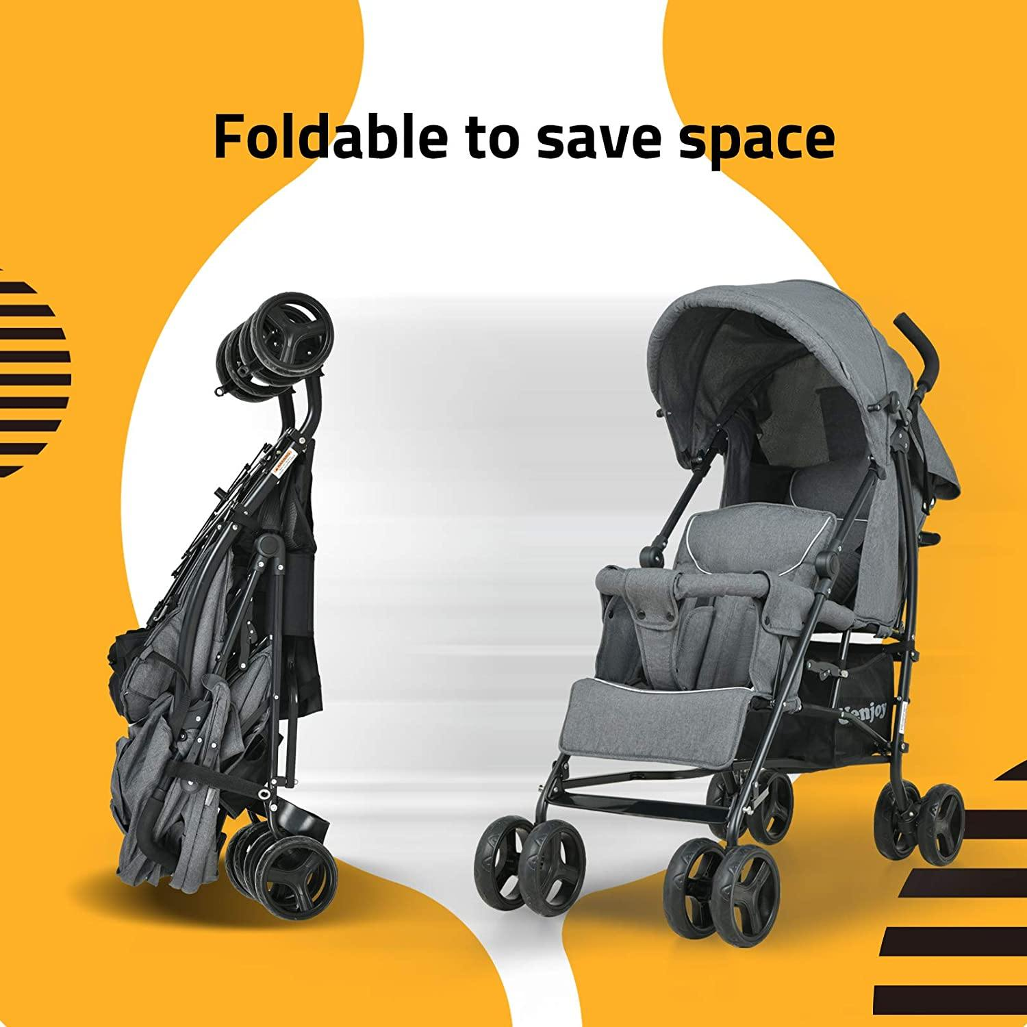 Uenjoy Baby Double Seat Jogging Stroller Fold Stroller for Babies & Toddlers with Spring Damping& Lockable Universal Wheels
