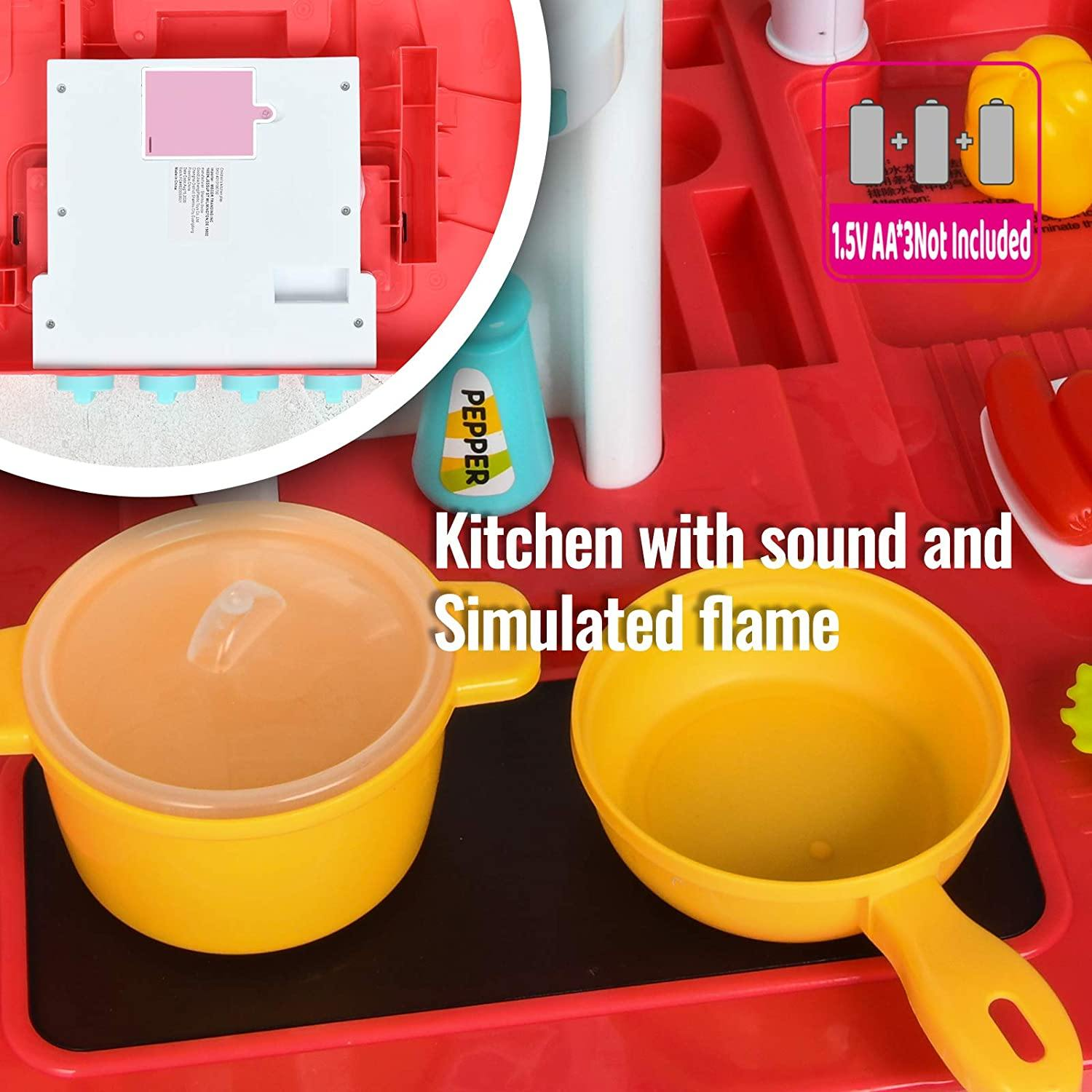 Uenjoy Kids Mini Kitchen Playset Plastic Pretend Play Kitchen with Realistic Lights & Sounds