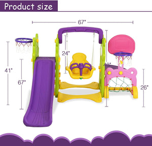 Uenjoy 4-in-1 Slide and Swing Set for Toddlers, Play Climber