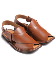 Load image into Gallery viewer, brown traditional Peshawari Chappal for men
