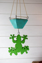 Load image into Gallery viewer, Frog hanging with turquoise planter