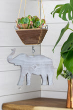 Load image into Gallery viewer, Grey elephant hanging from succulent planter
