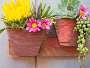 Rustic wall hanging planter