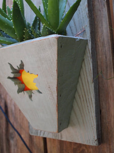Sunshine wall art Reclaimed Wood Planter