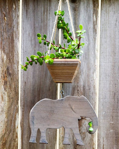 Elephant hanging from planter