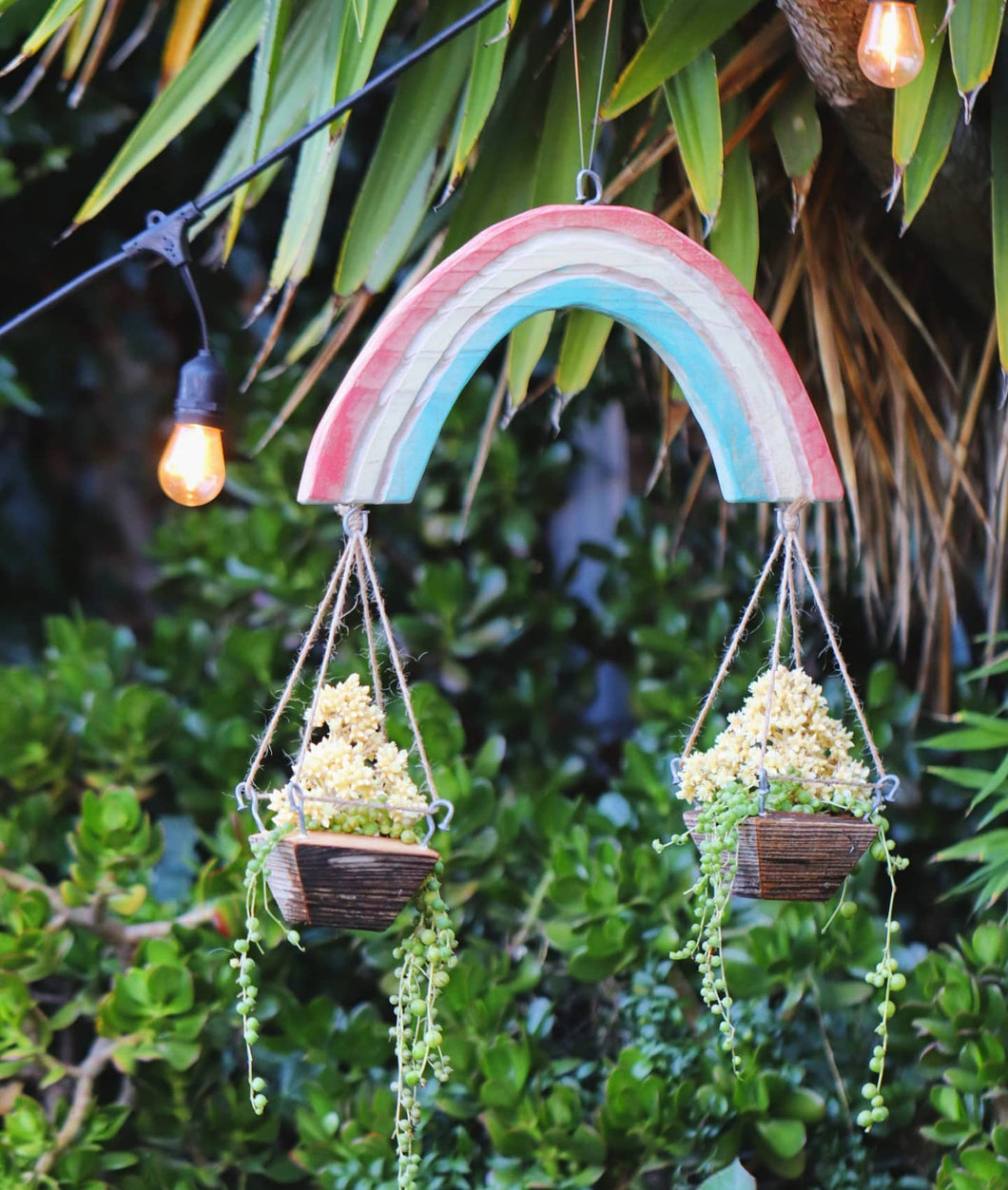 Rainbow wall hanging with planters