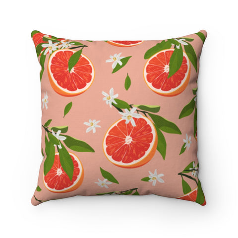 Floral Fruit Orange Throw Pillow