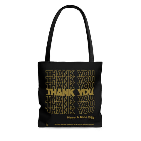 Thank You Thank You Black Gold Tote Bag