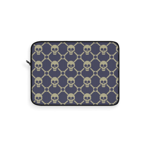 Knitted Gray Skulls Laptop Sleeve