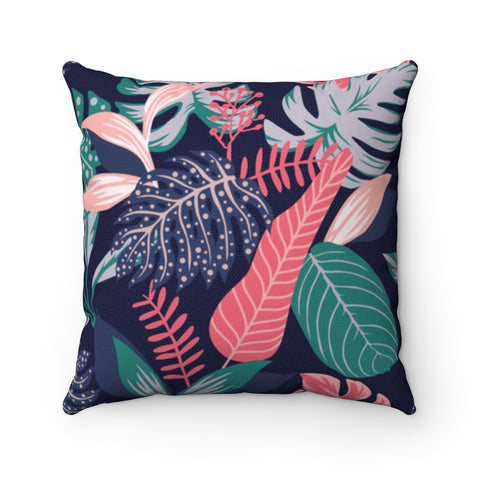 Dark Floral Indigo Peach Throw Pillow