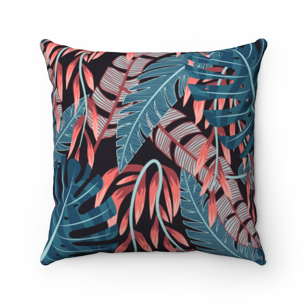 Dark Floral Emerald Crimson Throw Pillow
