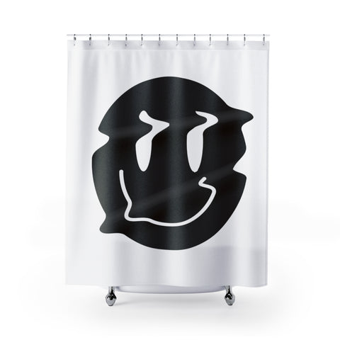 Distorted Smiley (Black) Shower Curtain