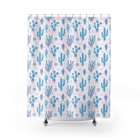 Neon Cactus Shower Curtain