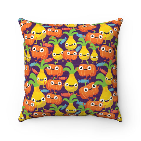 Pineapple Pumpkin Monsters Throw Pillow