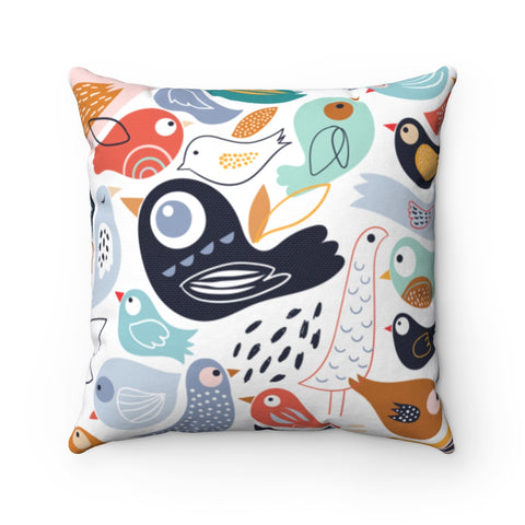 Pastel Birds Throw Pillow