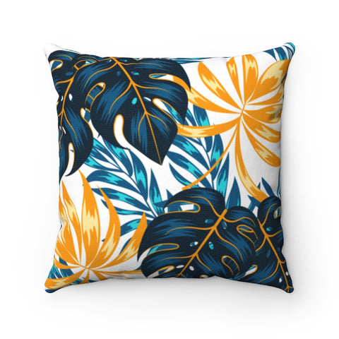 Floral Peacock Gold Throw Pillow