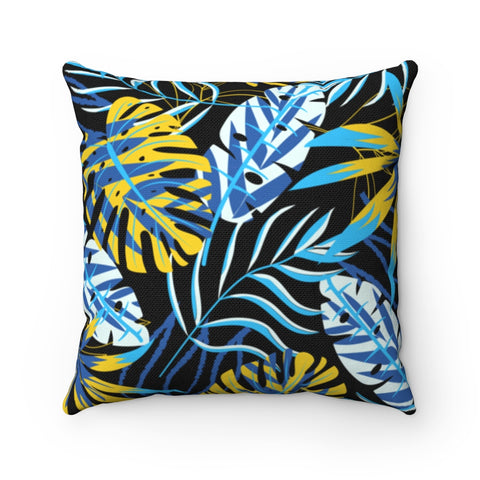 Dark Floral Azure Blonde Throw Pillow