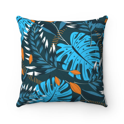 Dark Floral Sapphire Gold Throw Pillow
