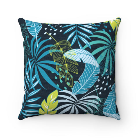 Dark Floral Neon Green Throw Pillow