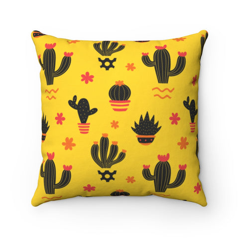 Yellow Cactus Throw Pillow